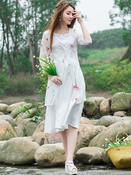 Ericdress Sweet Chinese Print Dress Suit