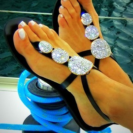 Ericdress Amazing Black Rhinestone Flat Sandals