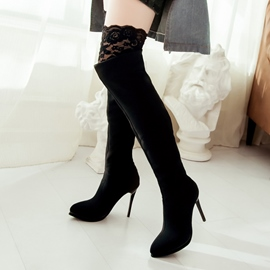 Ericdress Sexy Lace Patchwork Point Toe Thigh High Boots