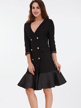 Ericdress Slim V-Neck Wave Cut Patchwork Coat