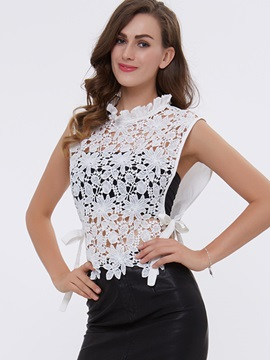 Ericdress Floral Lace Lace-Up Frill Blouse