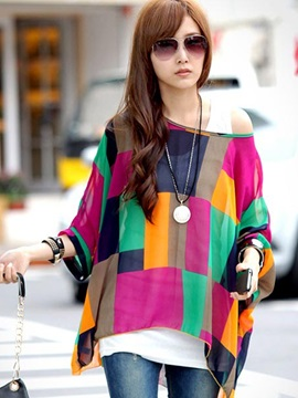 Ericdress Loose Color Block Bohemia Blouse