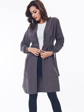 Ericdress Slim Wrapped Lace-Up Trench Coat