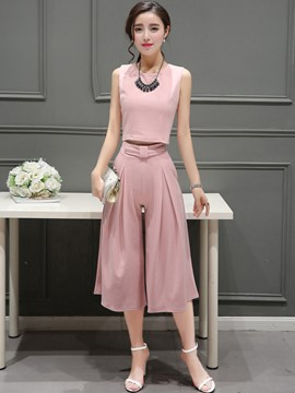 Ericdress Solid Color Wide Legs Pants Leisure Suits