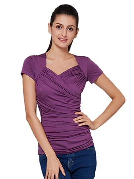 Ericdress Solid Color Slim Causal T-Shirt
