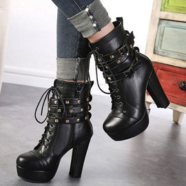 Ericdress Black Rivets Decoration High Heel Boots