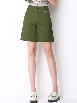 Ericdress Solid Color Preppy Style Shorts