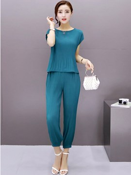 Ericdress Solid Color Pants Suit
