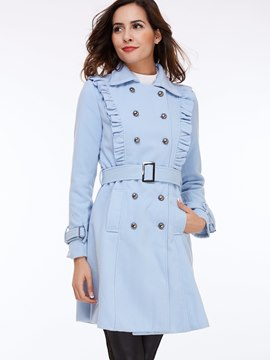 Ericdress Elegant Plain Trench Coat