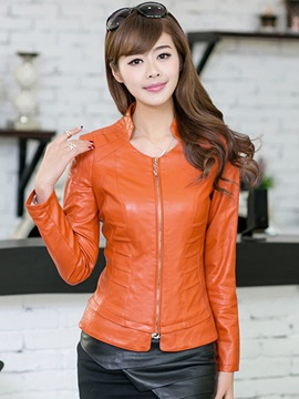 Ericdress Motorcycle Stand Collar Zipper PU Jacket
