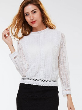 Ericdress White Lace Panel Blouse