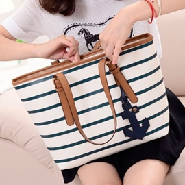 Splendid Preppy Striped Navy Style Casual Handy One-shoulder Bag