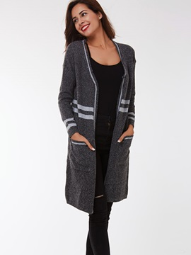 Ericdress White Stripe Gray Cardigan Knitwear