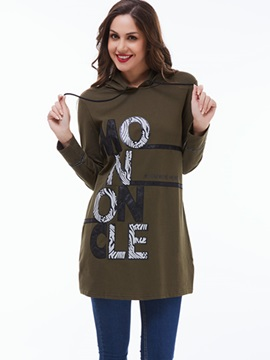 Ericdress Casual Letters Printed Straight Hoodie