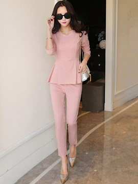 Ericdress Ladylike Pleated Top Leisure Suit