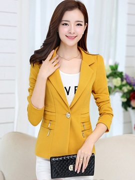 Ericdress Solid Color Zipper Blazer