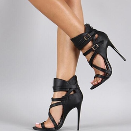Vintage Black Stiletto Sandals