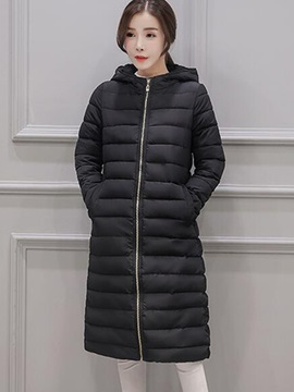 Ericdress Slim Solid Color Stripped Hooded Coat