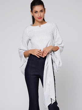 Ericdress Stripped Lace-Up Trumpet Blouse