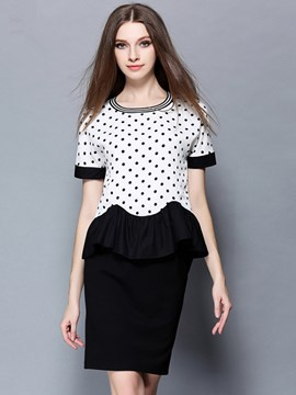 Ericdress Polka Dots Frill Blouse Suit