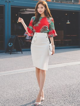 Ericdress Ladylike Print Frill Blouse Suit