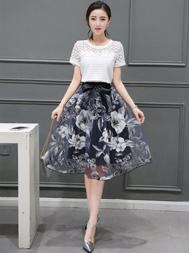 Ericdress Elegant Print Skirt Leisure Suits