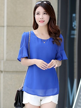 Ericdress Loose Trumpet Solid Color Blouse