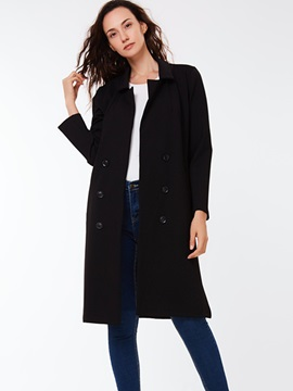 Ericdress Solid Color Straight European Coat