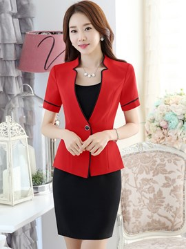 Ericdress Color Block Short Sleeve Blazer Suit