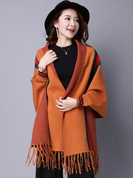 Ericdress Color Block Stripped Tassel Cape
