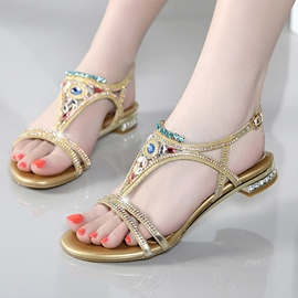 Ericdress Bohemian Crystal Flat Sandals