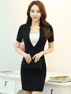 Ericdress Stripe V-Neck Blazer Formal Suit