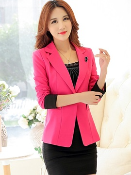 Ericdress Sweet One Button Color Block Blazer