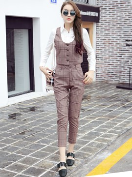 Ericdress Casual Plaid Three-Piece Suit