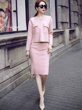 Ericdress Sweet Knitwear Skirt Suit