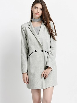 Ericdress Double-Breasted Mid-Length Blazer