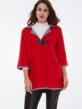 Ericdress Red Three-Quarter Cardigan Knitwear