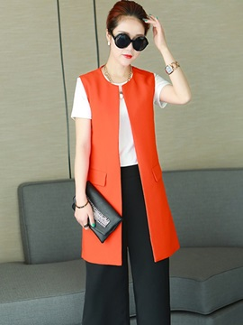 Ericdress Fashion Round Neck Blazer