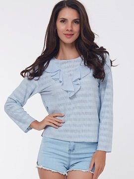 Ericdress Solid Color Casual Loose Frill Blouse