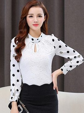 Ericdress Embrodiered Crochet Polka Dots Blouse