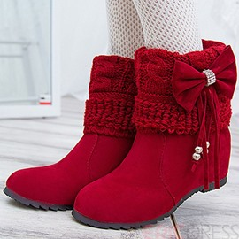 Ericdress Charming Knitting Patchwork Bowknot Ankle Boots
