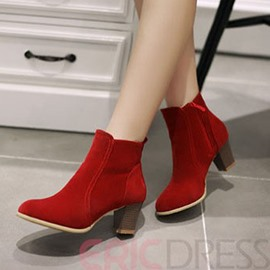 Ericdress British Suede Chunky Heel Ankle Boots