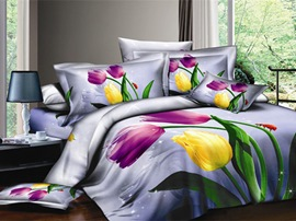4 Piece Cotton Bedding Sets with colorful Tulips