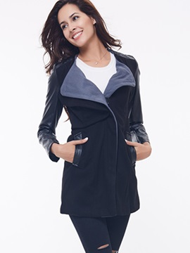 Ericdress Slim PU Patchwork Coat