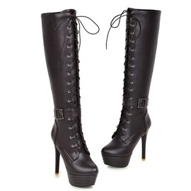 Ericdress Cool Lace up Knee High Boots