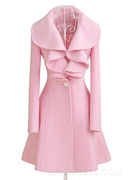 Ericdress Exquisite Pure Color Falbala Wool Coat