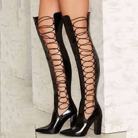 Ericdress Stylish Black Side Lace Up Chunky Heel Knee High Boots