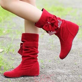 Ericdress Red PU Rhinestone Bow Flat Boots