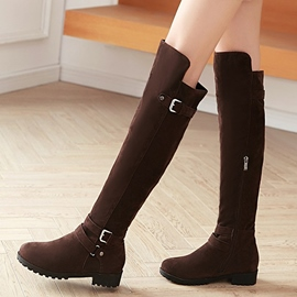 Ericdress Chic Suede Buckles Thigh High Boots