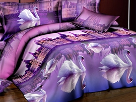 Ericdress Mysterious Purple Swan Print 3D Bedding Sets